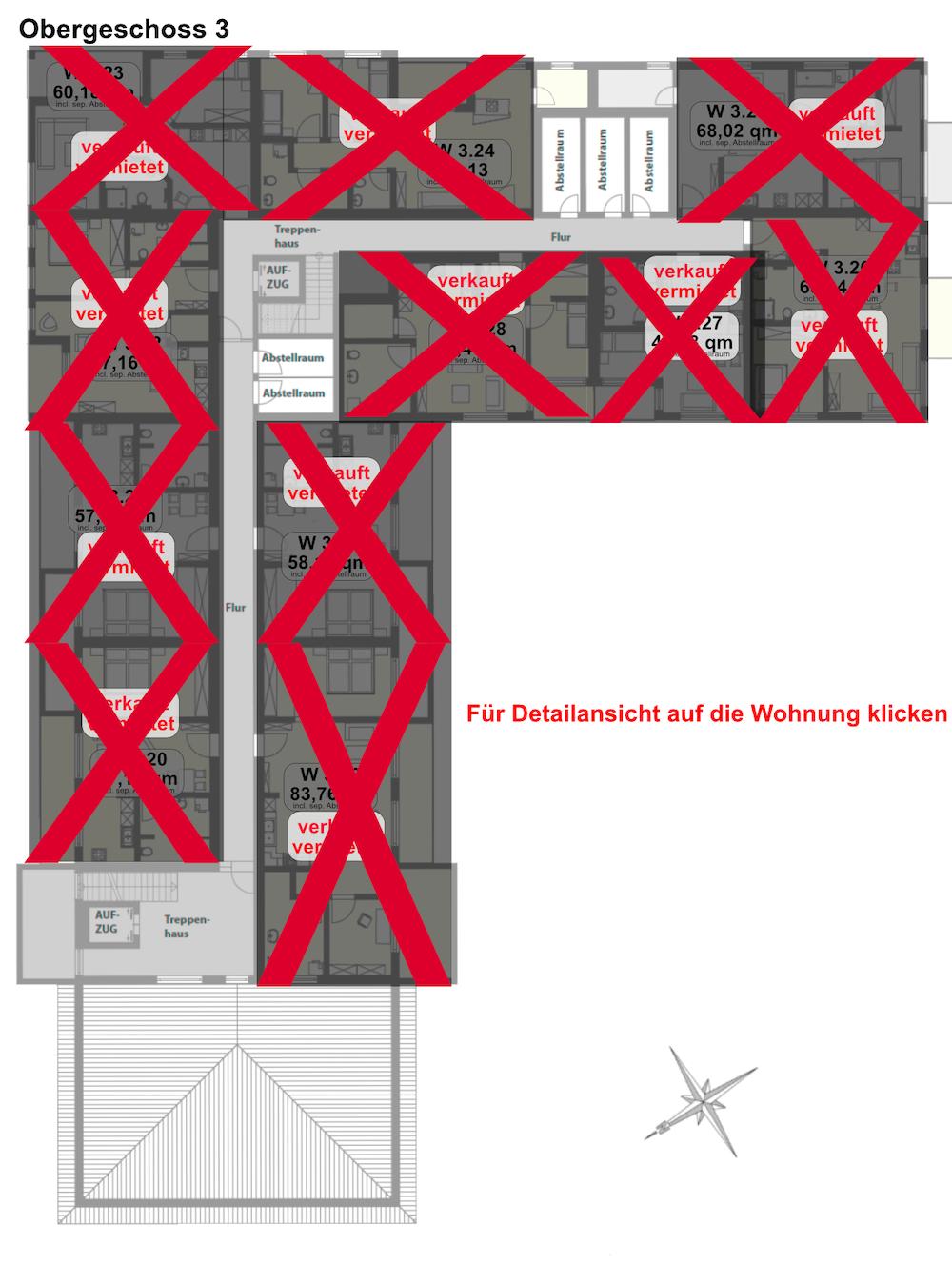 Diespeck Grundriss Obergeschoss 3, Service-Wohnen, Diakonie, Seniorenwohung, Neustadt Aisch